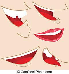 mouths., set, 5, spotprent