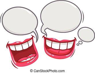 mouths., vector, reír, ilustración, hablar