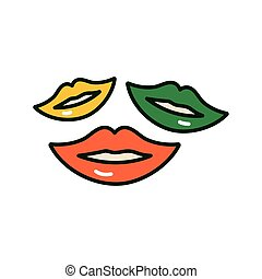 mouths with lips colors of ireland flag st patricks day icon