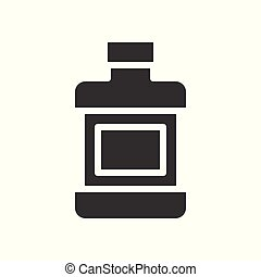 Mouthwash bottle, dental related solid vector icon