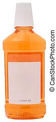 Mouthwash in Bottle - Bottle of orange mouthwash with blank...