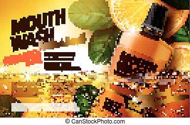 mouthwash product ad - mouthwash orange flavor, with leaves ...