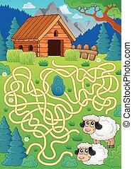 mouton, 30, thème, labyrinthe