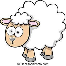 mouton, agneau, fou, vecteur