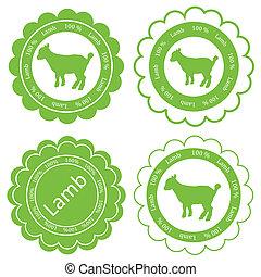 mouton, agneau, organique, viande, nourriture, étiquettes, illustration