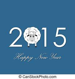mouton, année, 2015, nouveau, carte, heureux