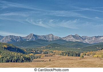 mouton, automne, vallée, rivière