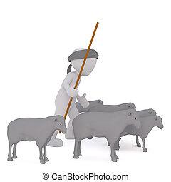 mouton, berger, herding, sien, troupeau, 3d