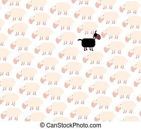 mouton, blanc, noir, troupeau