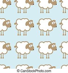 mouton, bleu, arrière-plan., seamless, modèle