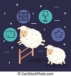 mouton, bon, grillage sauter, sommeil, nuit, dessin animé