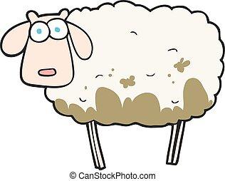 mouton, boueux, dessin animé