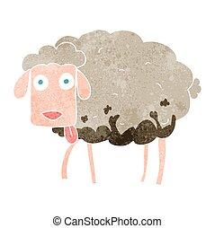 mouton, boueux, retro, dessin animé