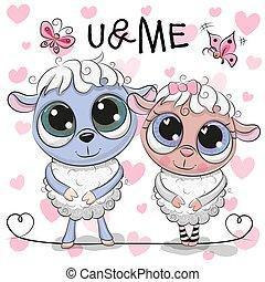 mouton, cœurs, deux, fond