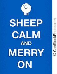 mouton, calme, joyeux, garder