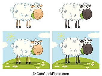 mouton, caractère, -, collection, 1, dessin animé, mascotte