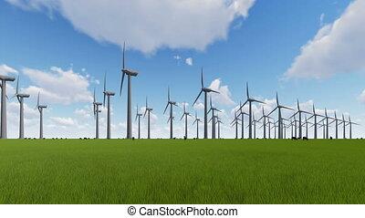 mouton, champ, turbines, vert, vent