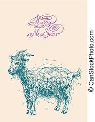 mouton, chinois, sym, chèvre, conception, lunaire, année, ...