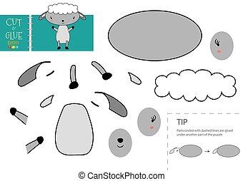mouton, colle, vecteur, papier, caractère, activité, pédagogique, toy., coupure