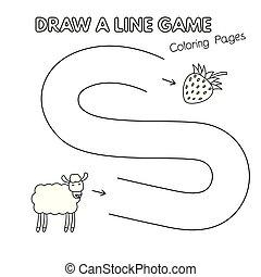 mouton, coloration, jeu gosses, livre, dessin animé