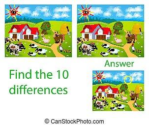 mouton, coq, dix, vache, ferme, pets:, différences, cochon, illustration, enfants, visuel, puzzle:, trouver