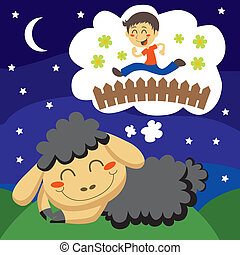 mouton, dénombrement, noir, enfants