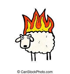 mouton, dessin animé, brûlé