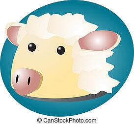 Mouton dessin anim mignon toison marteau blanc - Mouton dessin anime ...