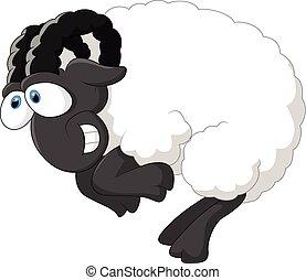 mouton, dessin animé, heureux