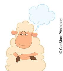 mouton, dessin animé, rêves