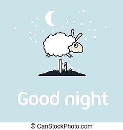 mouton, fence., éléments, carte postale, sur, illustration, sauter, concept.