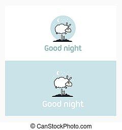 mouton, fence., éléments, sur, sauter, logo, concept.