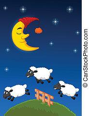 mouton, fence., sur, sauter, trois