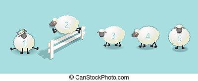 mouton, file, dénombrement
