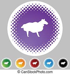 mouton, halftone, ensemble, icône