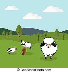 mouton, herbeux, barrière, champ, sur, arrière-plan., sauter