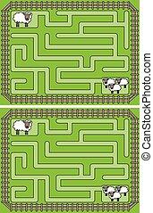 mouton, labyrinthe, facile