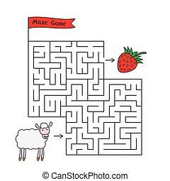mouton, labyrinthe, jeu, dessin animé