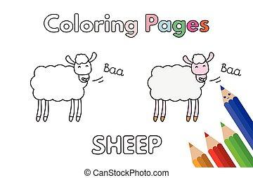 mouton, livre coloration, dessin animé