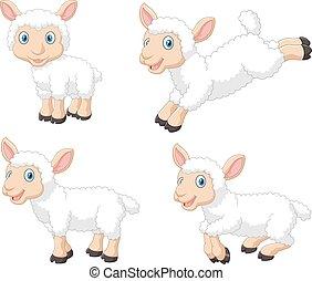 mouton, mignon, ensemble, dessin animé, collection