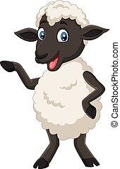 mouton, mignon, isolé, poser, fond, blanc, dessin animé