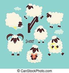 mouton, mignon, sur, sauter, barrière