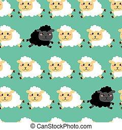 mouton, modèle, blanc, noir
