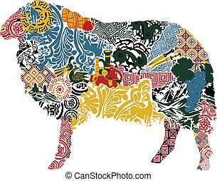 mouton, motif, géorgien