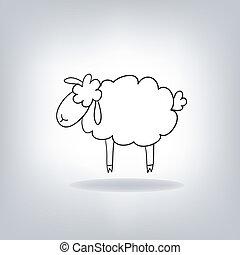 mouton, noir, silhouette