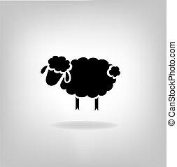 mouton, noir, silhouette, fond, lumière