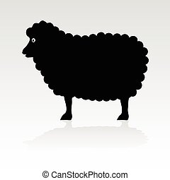 mouton, noir, vecteur, silhouette