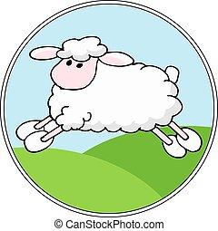 mouton, paysage, vecteur, dessin animé, fond