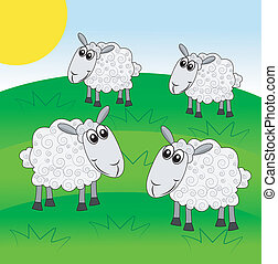 mouton, pelouse, vert, paître, joyeux