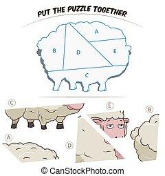 mouton, puzzle, chldren, jeu